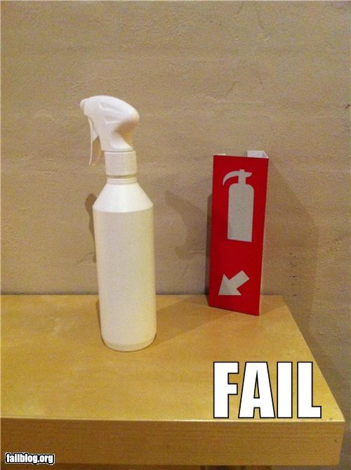 emergency,failboat,fire,g rated,not the same,safety,spray bottle
