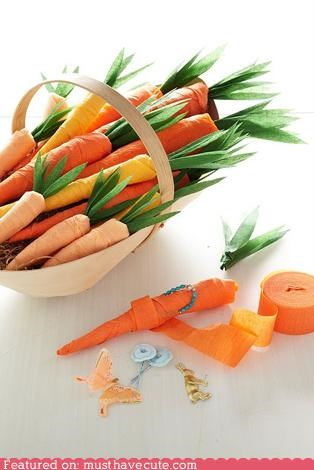 carrots,crepe paper,decoration,favors,gift,Party