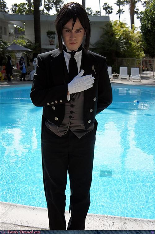 butler,pool,scary,weird,wig