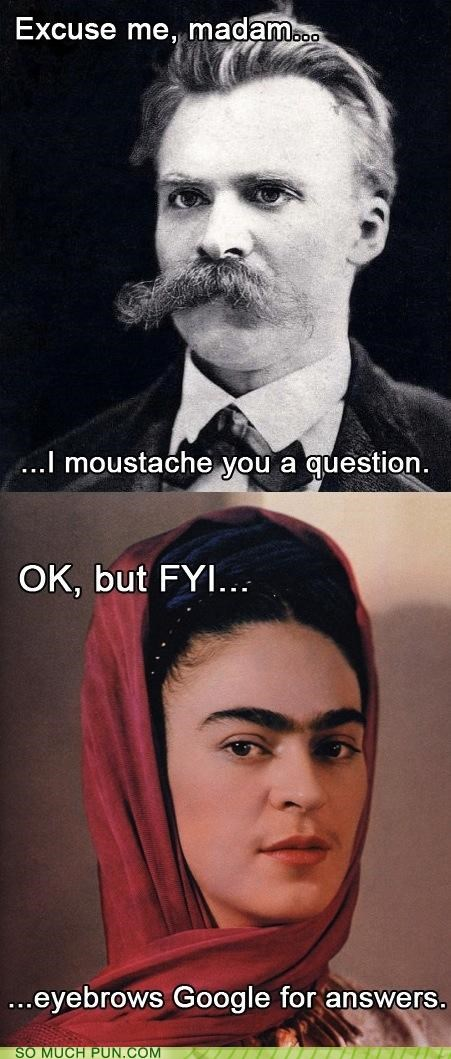 answer,comic,eyebrows,fyi,Hall of Fame,homophones,mustache,question,similar sounding,warning