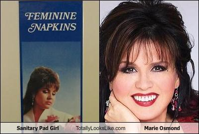 box,marie osmond,packaging,sanitary napkins