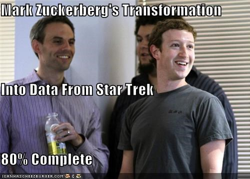 Mark Zuckerberg's Transformation  Into Data From Star Trek 80% Complete