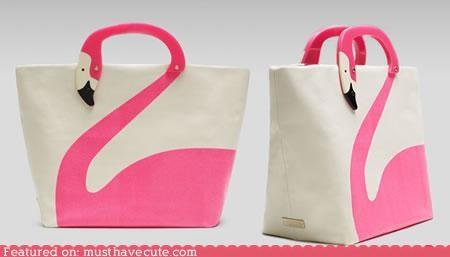 bag,flamingo,nadles,neck,pink,print,tote