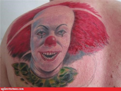 pennywise,scary,wtf,wait no it doesn't,tattoos,funny