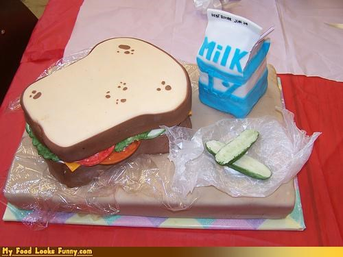 cake,lunch,milk,pickles,sandwich