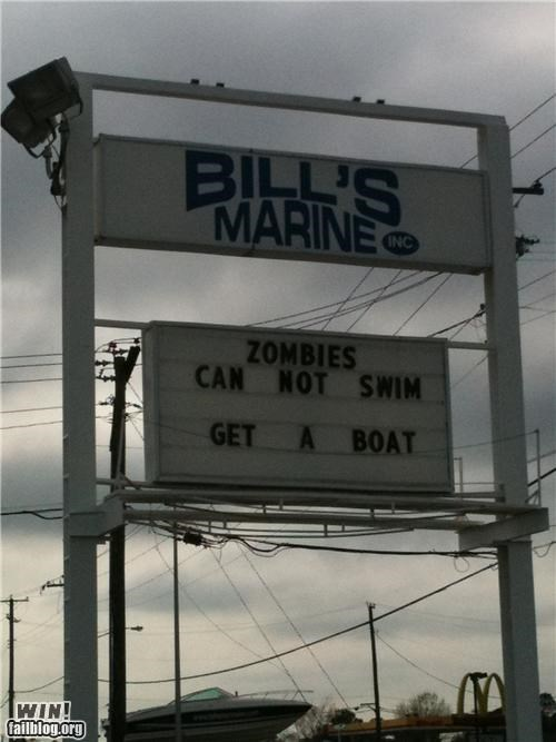 awesome at work,boat,clever,sign,storefront,zombie
