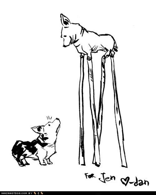 corgi,drawing,ohnoes,stilts,stumpy,tall