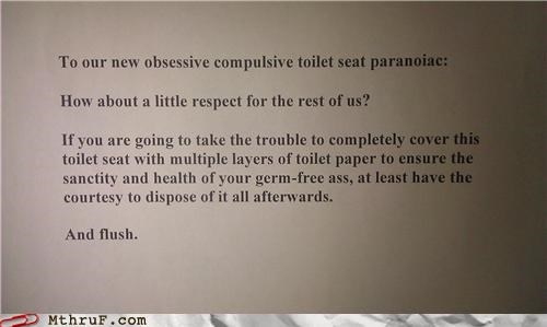 bathroom,note,paranoia,passive aggressive,respect,safety,sign,toilet