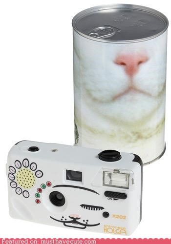 camera,can,cat face,electronics,eye,holga,lens