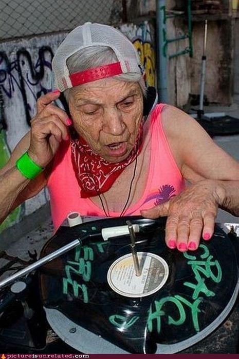 dj,old lady,record,sweet