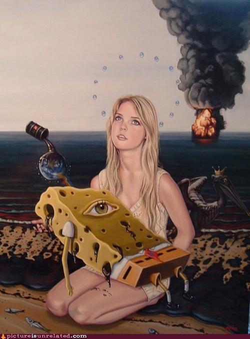 art,oil spill,painting,sponge bob