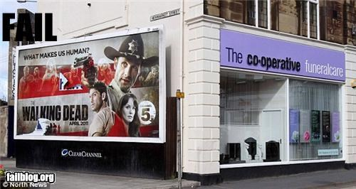 advertisement,billboard,funeral home,g rated,juxtaposition,The Walking Dead,zombie
