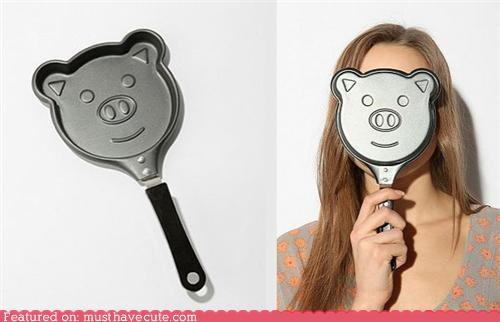 cooking,eggs,face,metal,pan,pancakes,pig