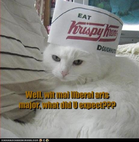 caption,cat,college,donuts,fast food,job,krispy kreme,liberal arts,major,sarcasm,service,service industry