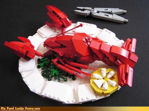 art,lego,lemon,lobster,plastic,plate,sculpture