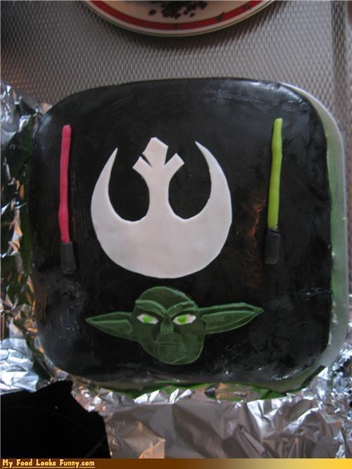 cake,fondant,lightsabers,rebel alliance,star wars,yoda
