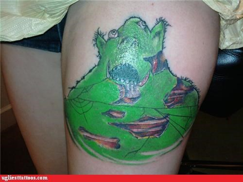 bad,monster,tattoo,shrek,funny