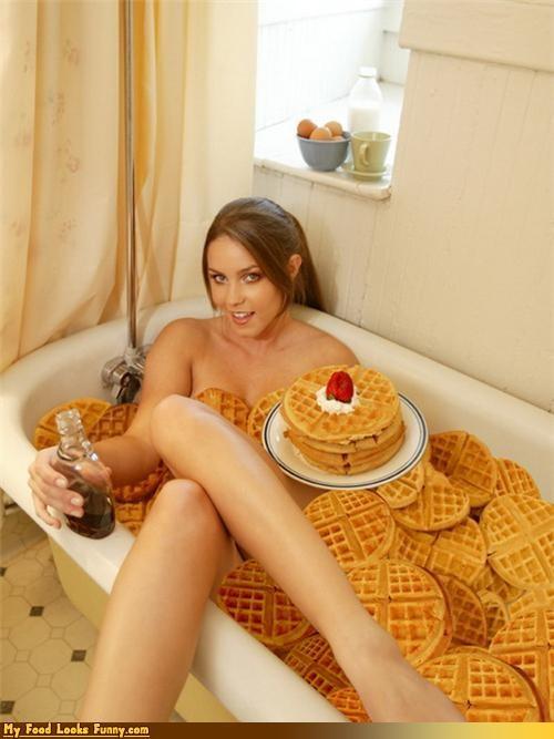 bath thub,breakfast,girl,syrup,waffles