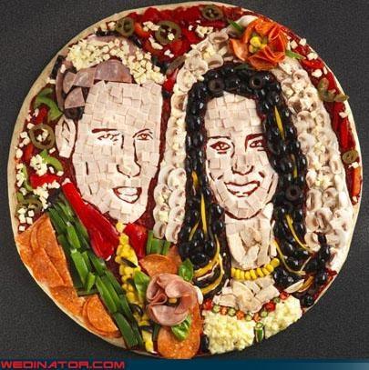 food,funny wedding photos,kate middleton,pizza,prince william,royal roundup,royal wedding,Royal Wedding Madness