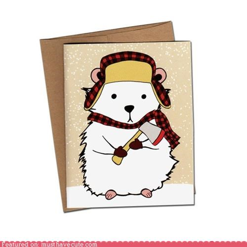 card,hamster,hat,hatchet,lumberjack,mittens,scarf,stationary