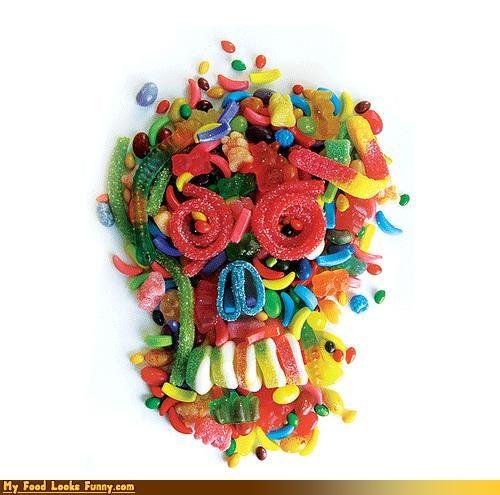 art,candy,gummies,sculpture,skull