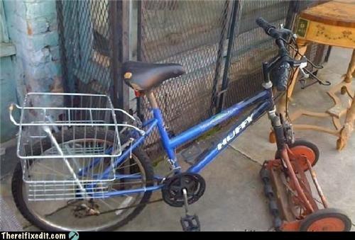 abomineering,bicycle,classic,dual use,lawnmower