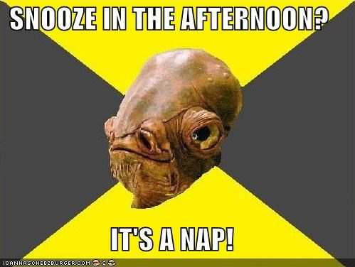 SNOOZE IN THE AFTERNOON?  IT'S A NAP!