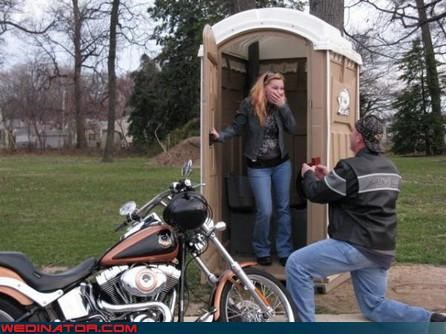 funny wedding photos,port a potty,proposal,toilet