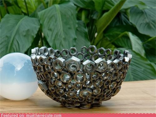 bowl,hardware,metal,nuts,Recycled,repurposed