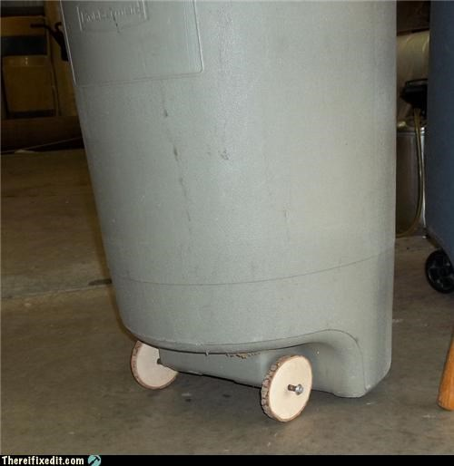 dual use,trash can,tree,wheels,wooden