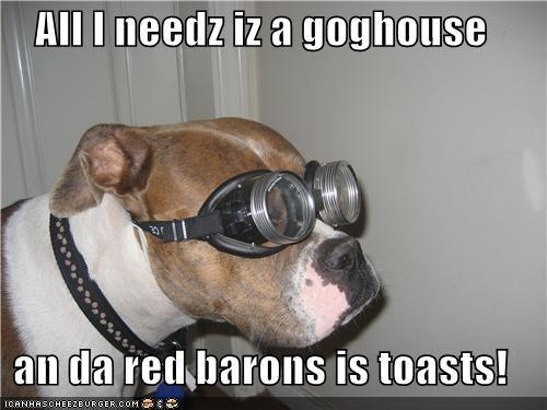 All I needz iz a goghouse  an da red barons is toasts!