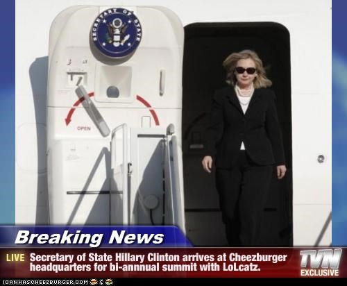 Breaking News - Secretary of State Hillary Clinton arrives at Cheezburger headquarters for bi-annnual summit with LoLcatz.