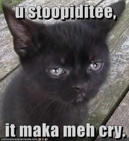 u stoopiditee,       it maka meh cry.