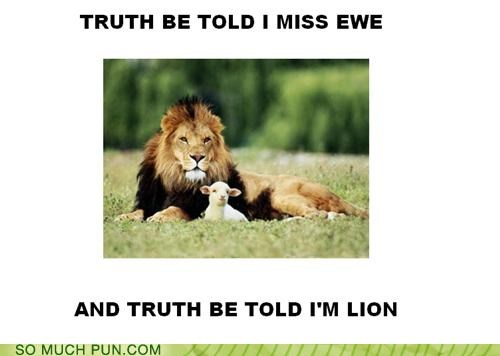 ewe,homophone,homophones,lion,literalism,lying,truth,truth be told,you