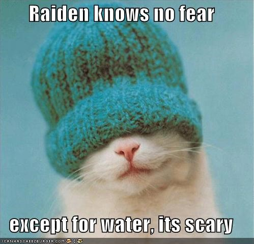 Raiden knows no fear  except for water, its scary