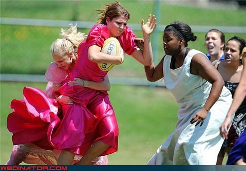 funny wedding photos,rugby,ugly bridesmaids dresses