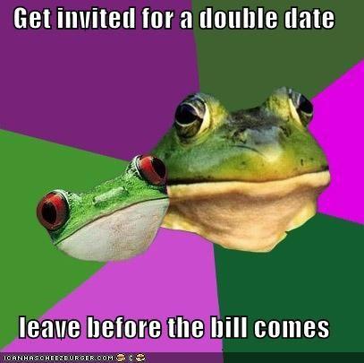 bill,couple,dash,dinner,foul,foul bachelor frog,foul bachelorette frog