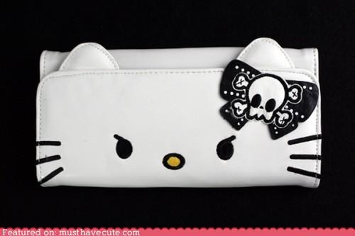 angry,clutch,emo,hello kitty,scowl,skull,wallet