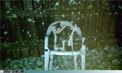Chair is No Match For Hail