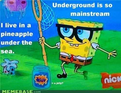 hipster,hipster-disney-friends,SpongeBob SquarePants,underground,underwater