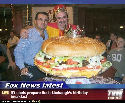 Fox News latest - NY chefs prepare Rush Limbaugh's birthday breakfast