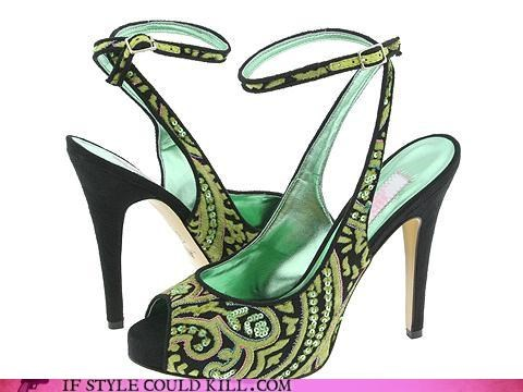 crazy shoes,green,heels