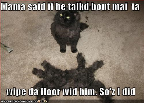 Mama said if he talkd bout mai  ta     wipe da floor wid him. So'z I did