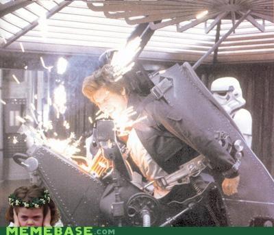 Han Solo Star Wars Pain Flower Girl Photobomb
