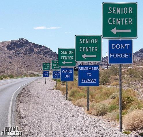 amnesia,classic,clever,geriatric,road sign
