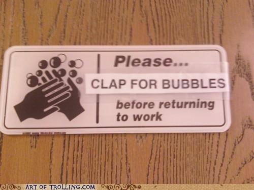 bubbles,clap,hygeine,sanitary,washing hands