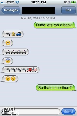 emoticons,mobile phones,robbery,text message