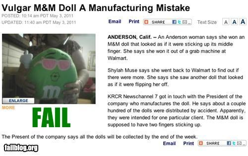 Probably Bad News: M&M Fail