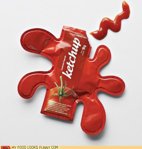 design,ketchup,package,packet,puddle,splatter