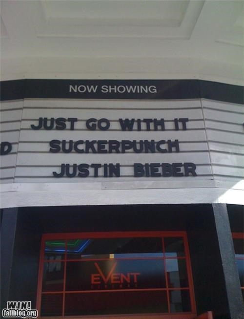 clever,justin bieber,juxtaposition,marquee,movies,punch